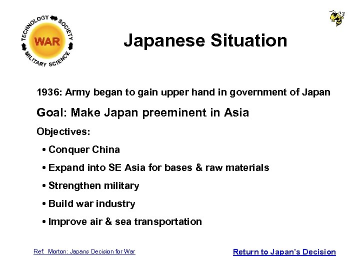 Japanese Situation 1936: Army began to gain upper hand in government of Japan Goal: