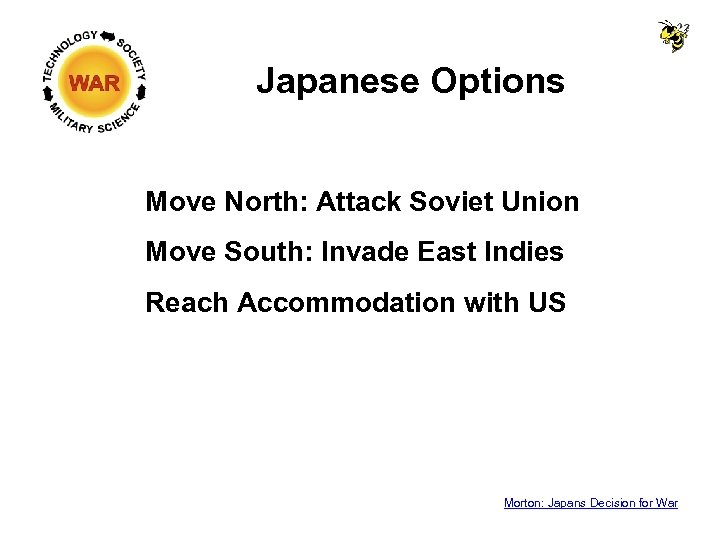 Japanese Options Move North: Attack Soviet Union Move South: Invade East Indies Reach Accommodation