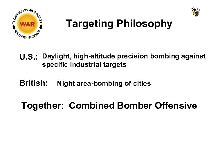 Targeting Philosophy U. S. : Daylight, high-altitude precision bombing against specific industrial targets British: