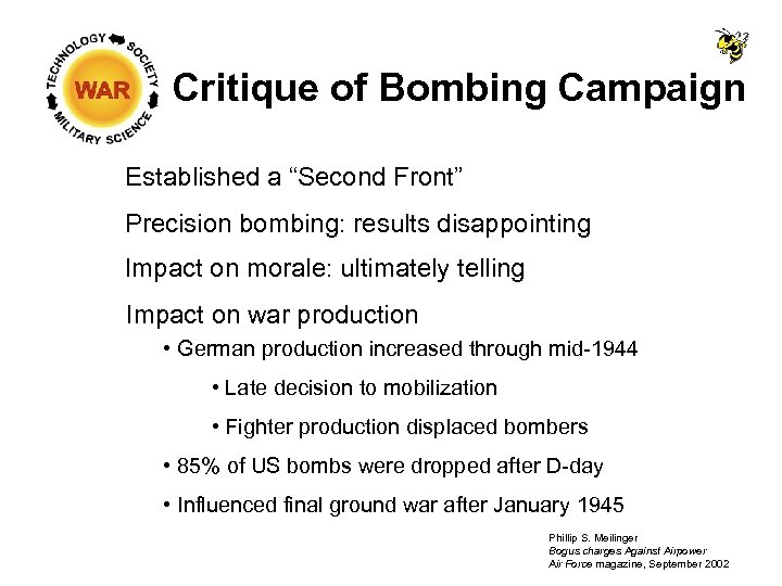 """Critique of Bombing Campaign Established a """"Second Front"""" Precision bombing: results disappointing Impact on"""