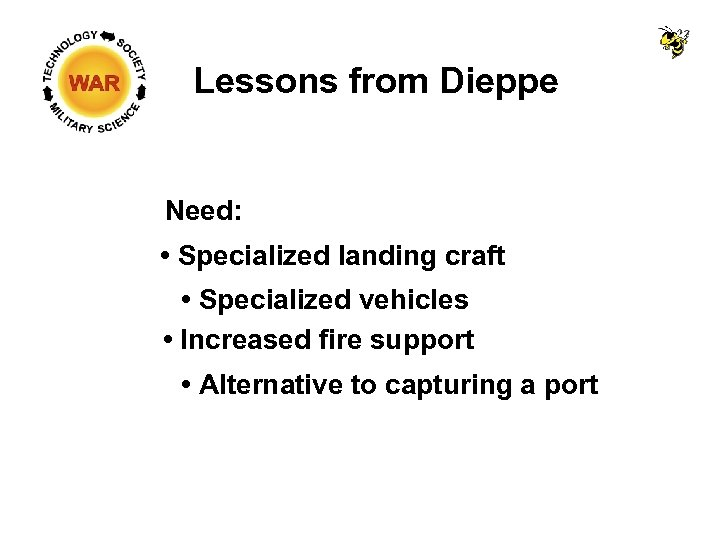 Lessons from Dieppe Need: • Specialized landing craft • Specialized vehicles • Increased fire