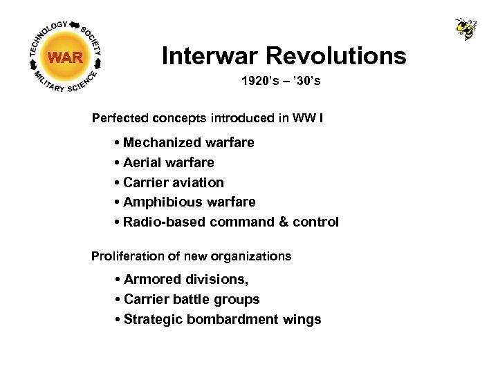 Interwar Revolutions 1920's – ' 30's Perfected concepts introduced in WW I • Mechanized