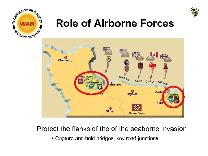 Role of Airborne Forces Protect the flanks of the seaborne invasion Capture and hold