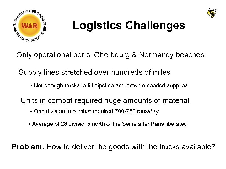 Logistics Challenges Only operational ports: Cherbourg & Normandy beaches Supply lines stretched over hundreds