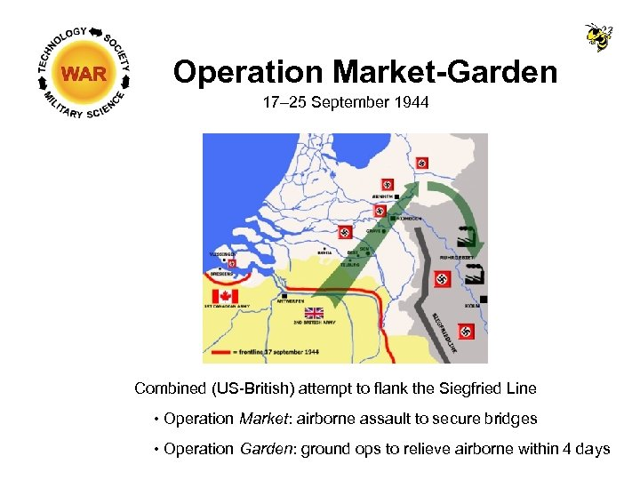 Operation Market-Garden 17– 25 September 1944 Combined (US-British) attempt to flank the Siegfried Line
