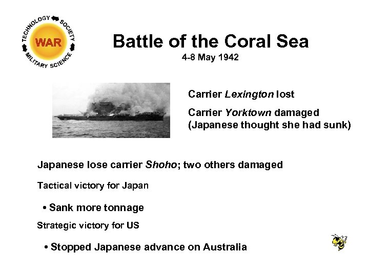 Battle of the Coral Sea 4 -8 May 1942 Carrier Lexington lost Carrier Yorktown
