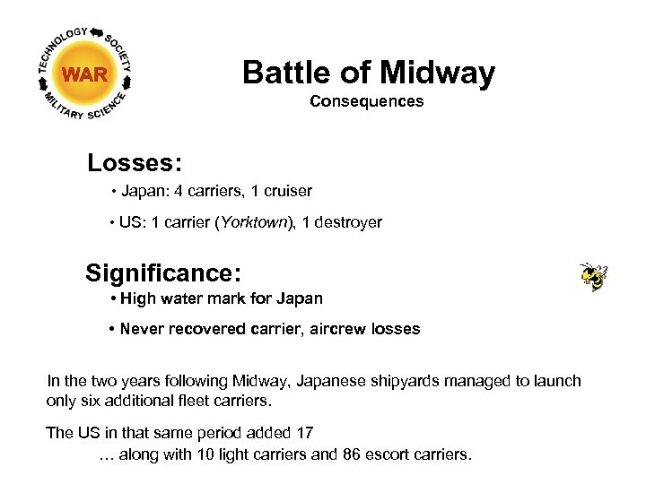 Battle of Midway Consequences Losses: • Japan: 4 carriers, 1 cruiser • US: 1