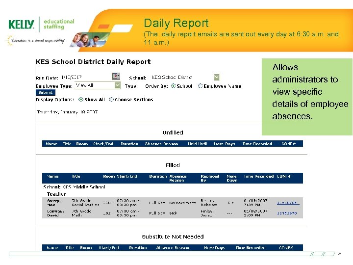 Daily Report (The daily report emails are sent out every day at 6: 30