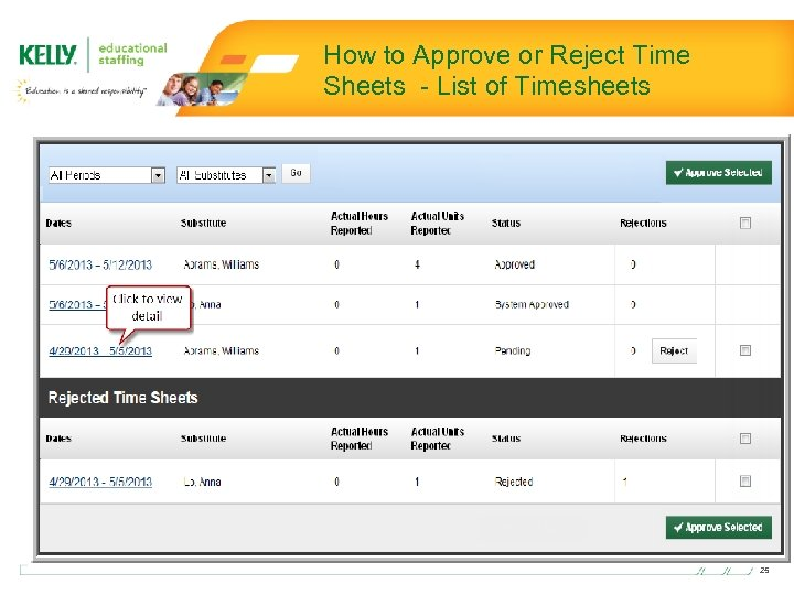 How to Approve or Reject Time Sheets - List of Timesheets 25