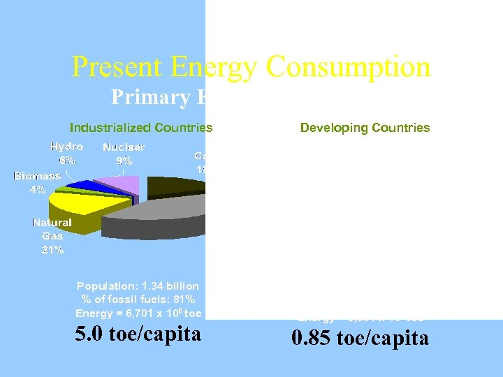 Present Energy Consumption Primary Energy Consumption Industrialized Countries Population: 1. 34 billion % of