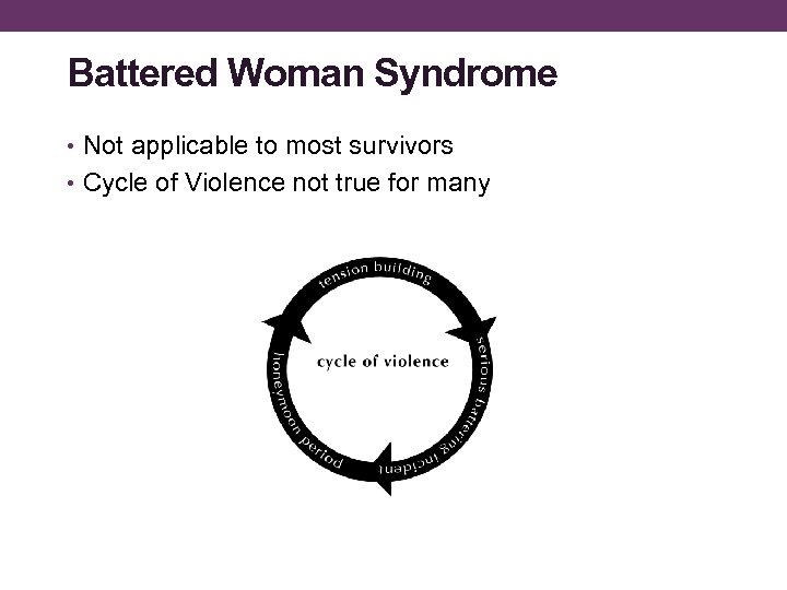 Battered Woman Syndrome • Not applicable to most survivors • Cycle of Violence not