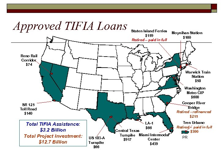 Approved TIFIA Loans Staten Island Ferries $159 Retired – paid in full Moynihan Station