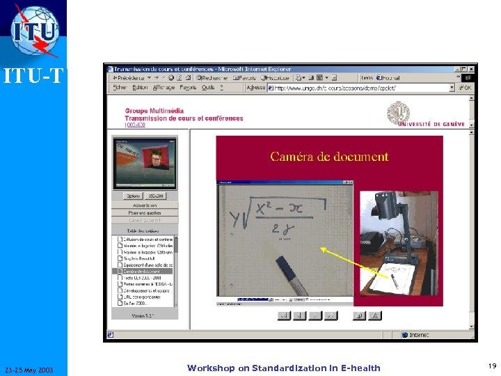 ITU-T 23 -25 May 2003 Workshop on Standardization in E-health 19
