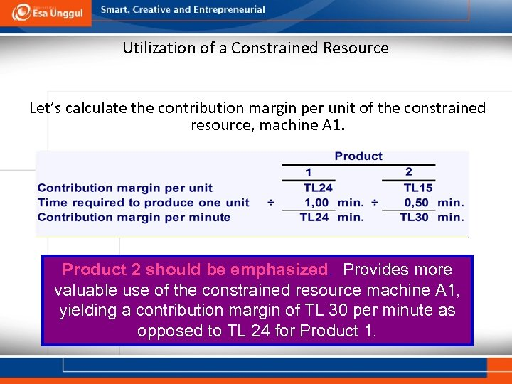Utilization of a Constrained Resource Let's calculate the contribution margin per unit of the