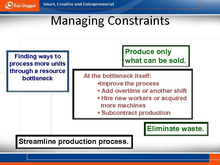 Managing Constraints Finding ways to process more units through a resource bottleneck Produce only