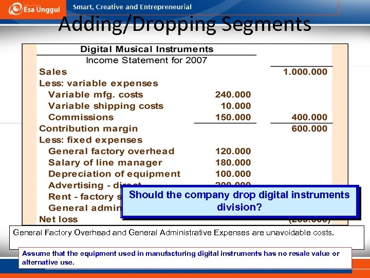 Adding/Dropping Segments Should the company drop digital instruments division? General Factory Overhead and General