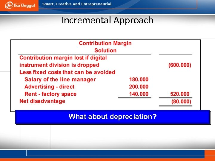 Incremental Approach What about depreciation?