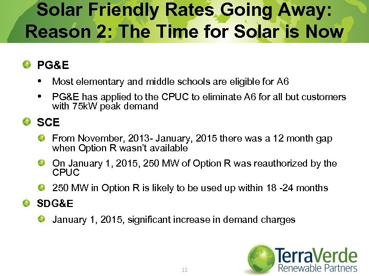 Solar Friendly Rates Going Away: Reason 2: The Time for Solar is Now PG&E