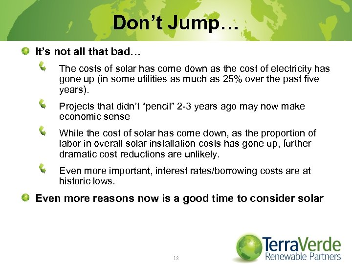 Don't Jump… It's not all that bad… The costs of solar has come down