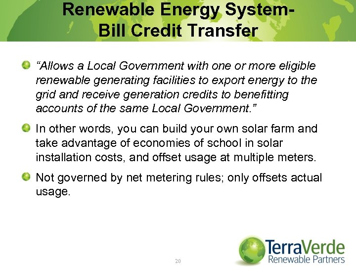"""Renewable Energy System. Bill Credit Transfer """"Allows a Local Government with one or more"""
