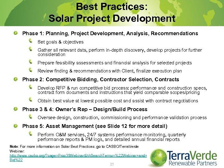 Best Practices: Solar Project Development Phase 1: Planning, Project Development, Analysis, Recommendations Set goals