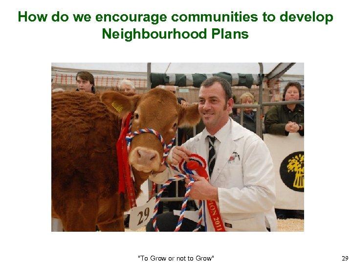 How do we encourage communities to develop Neighbourhood Plans