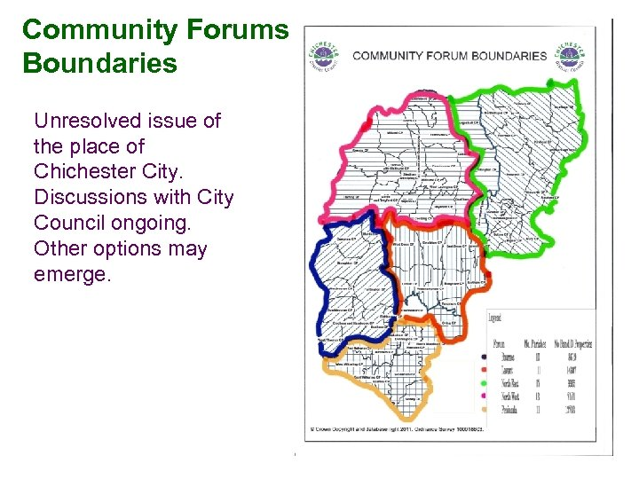 Community Forums Boundaries Unresolved issue of the place of Chichester City. Discussions with City