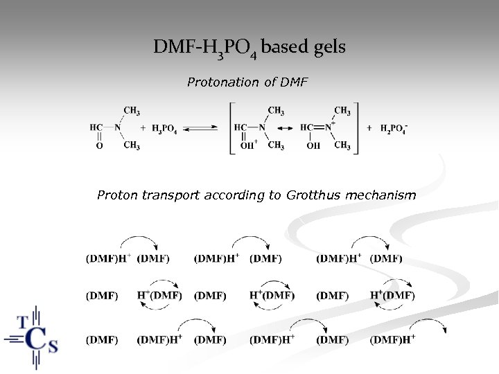 DMF-H 3 PO 4 based gels Protonation of DMF Proton transport according to Grotthus