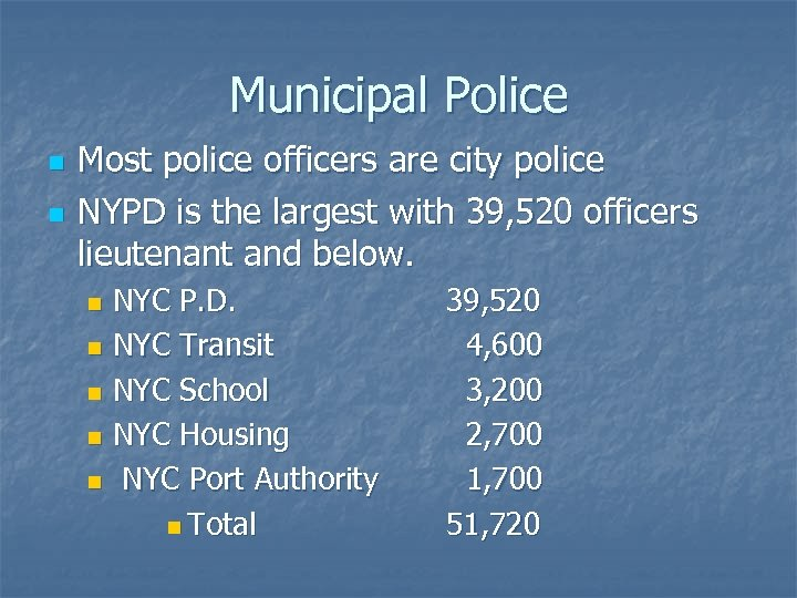 Municipal Police n n Most police officers are city police NYPD is the largest