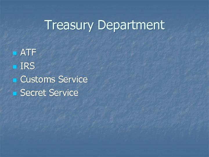 Treasury Department n n ATF IRS Customs Service Secret Service