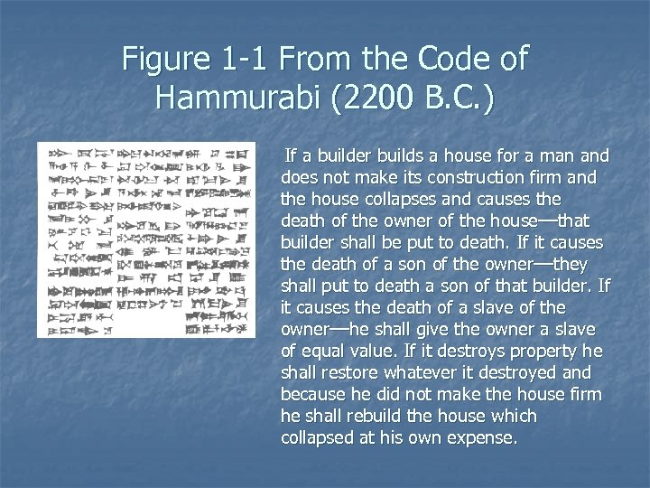 Figure 1 -1 From the Code of Hammurabi (2200 B. C. ) If a