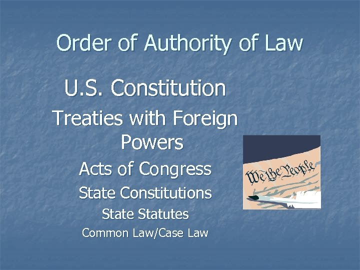 Order of Authority of Law U. S. Constitution Treaties with Foreign Powers Acts of