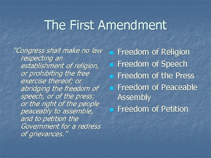 """The First Amendment """"Congress shall make no law respecting an establishment of religion, or"""