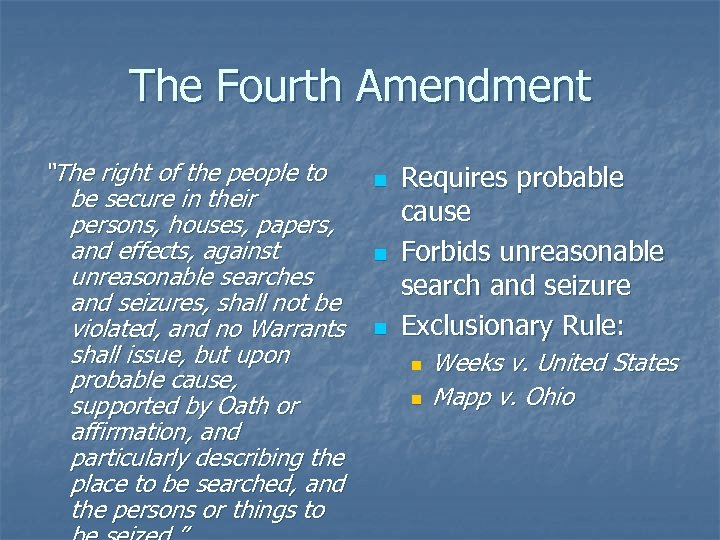 """The Fourth Amendment """"The right of the people to be secure in their persons,"""