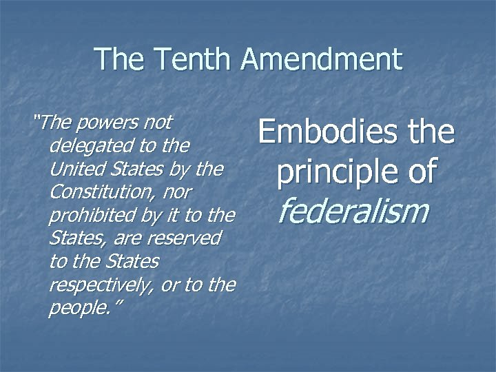 """The Tenth Amendment """"The powers not delegated to the United States by the Constitution,"""