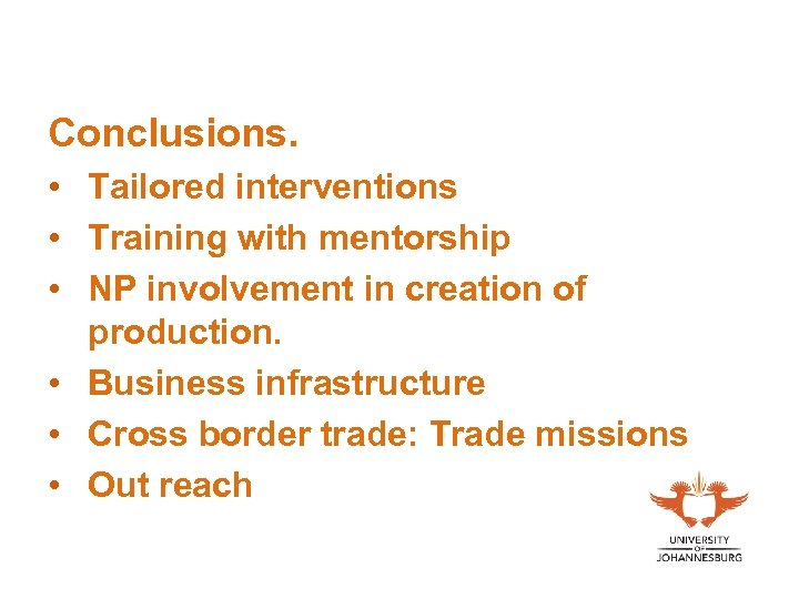 Conclusions. • Tailored interventions • Training with mentorship • NP involvement in creation of