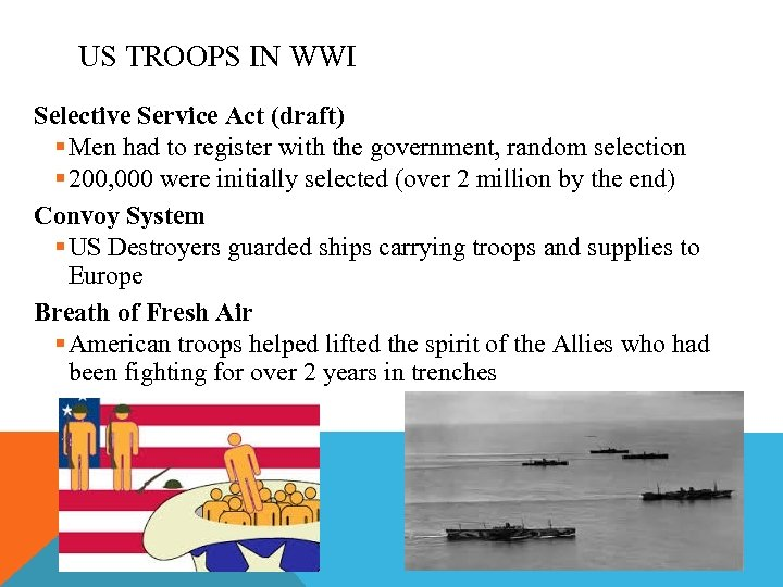 US TROOPS IN WWI Selective Service Act (draft) § Men had to register with