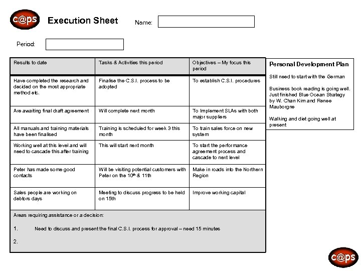c@ps Execution Sheet Name: Period: Results to date Tasks & Activities this period Objectives