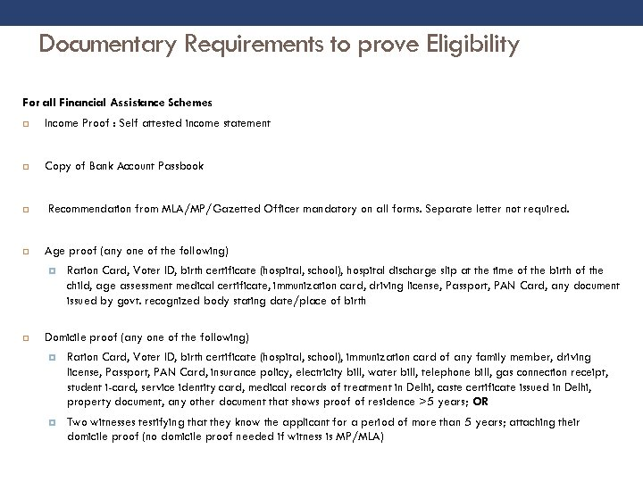Documentary Requirements to prove Eligibility For all Financial Assistance Schemes Income Proof : Self