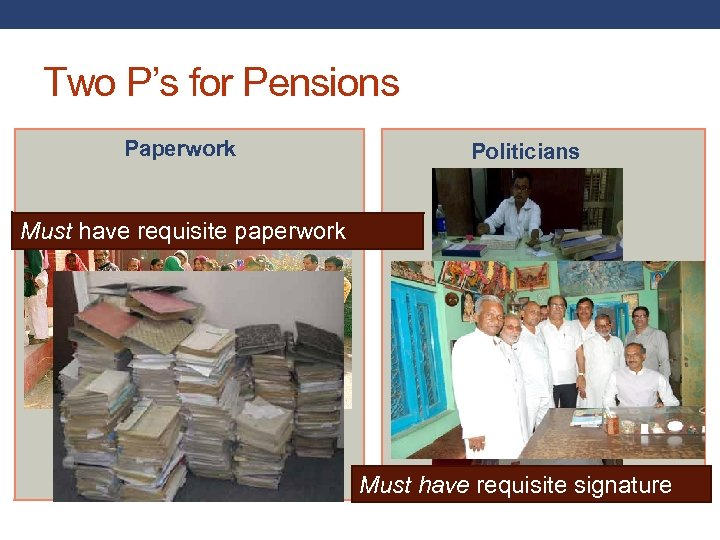 Two P's for Pensions Paperwork Politicians Must have requisite paperwork Route 1 Must have