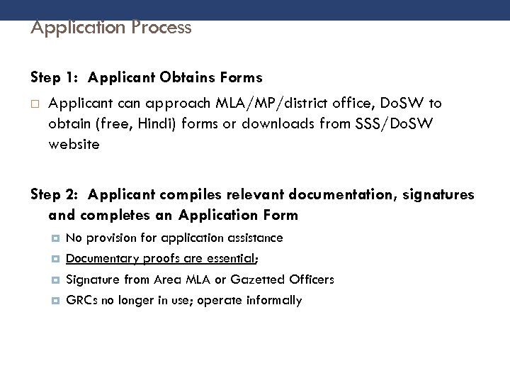 Application Process Step 1: Applicant Obtains Forms Applicant can approach MLA/MP/district office, Do. SW