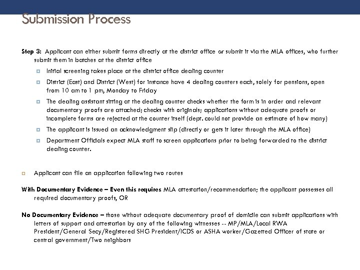 Submission Process Step 3: Applicant can either submit forms directly at the district office
