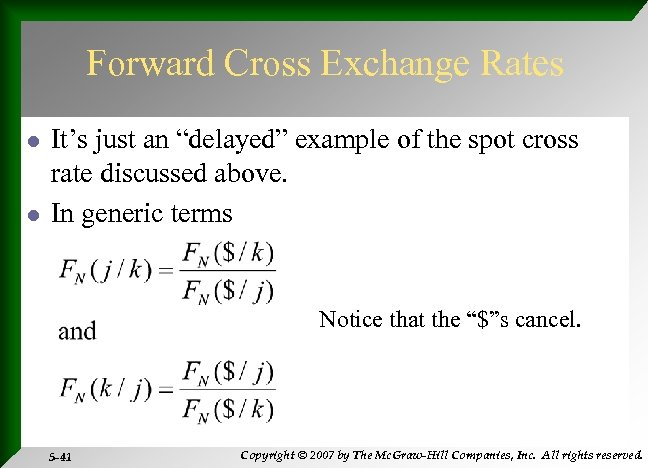 """Forward Cross Exchange Rates l l It's just an """"delayed"""" example of the spot"""
