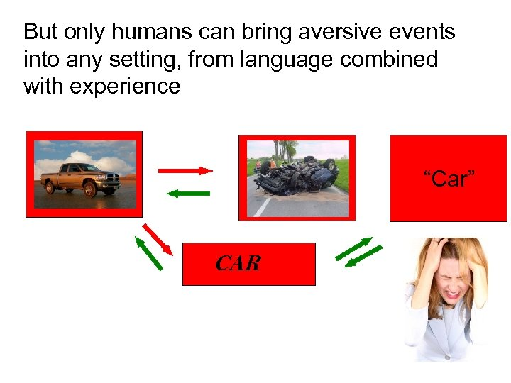 But only humans can bring aversive events into any setting, from language combined with