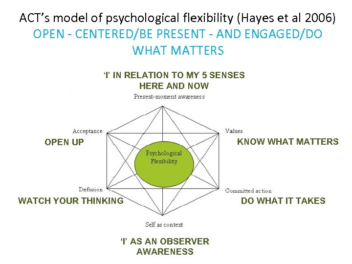 ACT's model of psychological flexibility (Hayes et al 2006) OPEN - CENTERED/BE PRESENT -