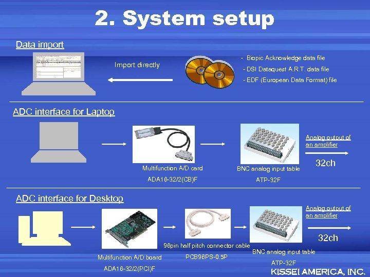 2. System setup Data import - Biopic Acknowledge data file Import directly - DSI