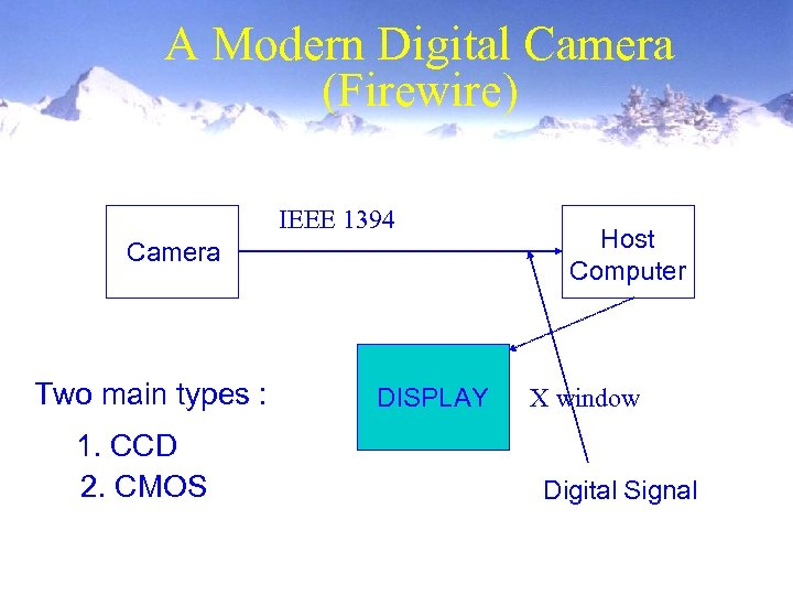 A Modern Digital Camera (Firewire) IEEE 1394 Camera Two main types : 1. CCD