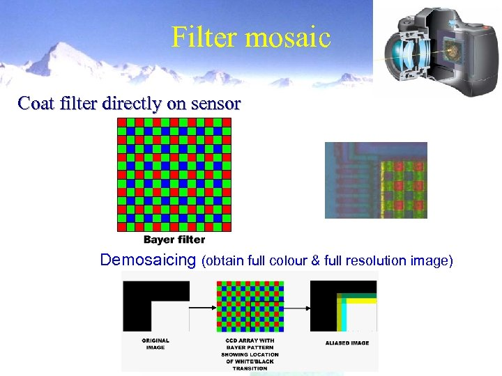 Filter mosaic Coat filter directly on sensor Demosaicing (obtain full colour & full resolution