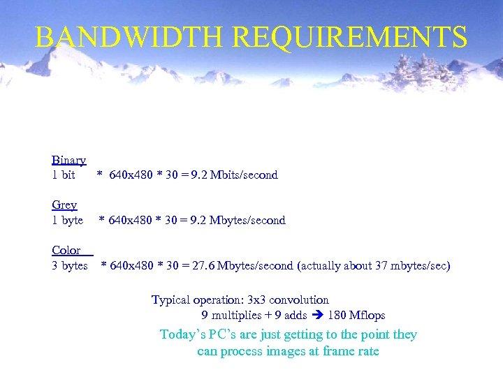 BANDWIDTH REQUIREMENTS Binary 1 bit * 640 x 480 * 30 = 9. 2
