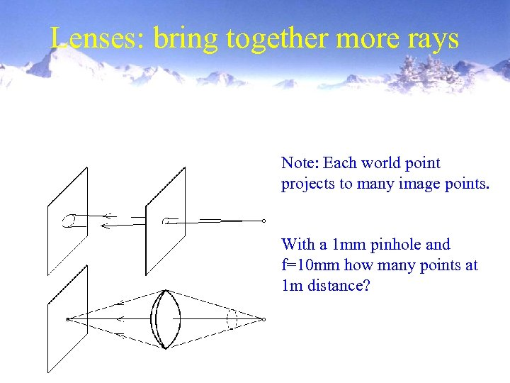 Lenses: bring together more rays Note: Each world point projects to many image points.